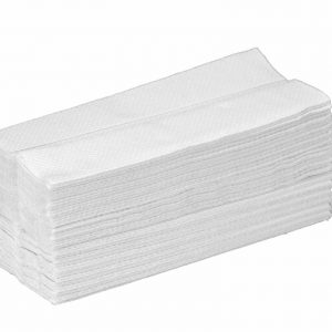 pile of c fold 2 ply white hand towels