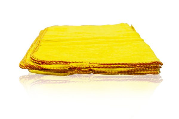 pack of 10 yellow dusters with red edging
