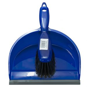 blue plastic dustpan and brush